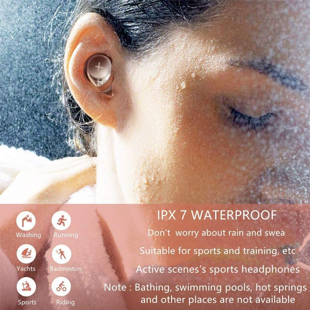 Wireless Earbuds Bluetooth Headphones 5.0 Earphone, 3D Stereo Sound Earphones Portable with Charging Case Bulid-in Mic IPX7 Waterproof Earbuds TWS for Work/Running/Travel/Gym
