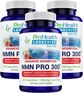ProHealth NMN Pro 300 Enhanced Absorption 3-Pack (60 Capsules, 300mg per 2 Capsule Serving) Nicotinamide Mononucleotide | NAD+ Precursor | Supports Anti-Aging, Longevity and Energy | Non-GMO