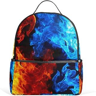 MASSIKOA Red Yellow Blue Flame Fire Smoke Laptop Backpack Casual Shoulder Daypack for Student School Bag Handbag - Lightwe...