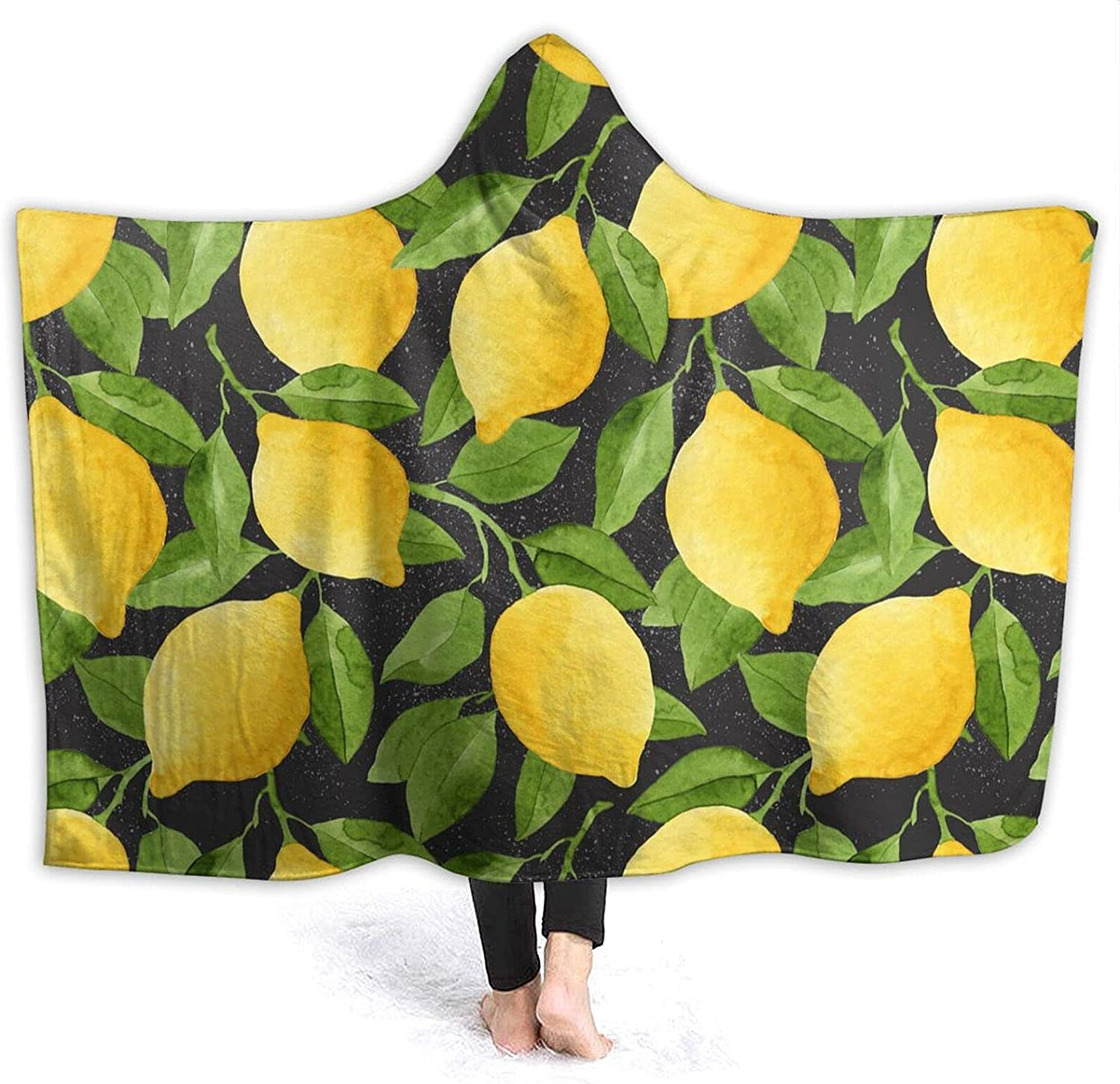 Branded goods Hooded Blanket Max 78% OFF Bright Yellow Watercolor Lemons Suitable for Sof
