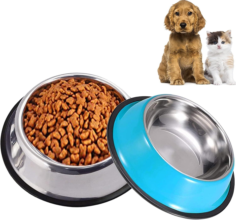 Comedero Perro con Base de Silicona Antideslizante, JYTZ 2 Unidades Bebedero Perro para Comida o Agua Comederos y Bebederos para Perros Perfecto para Perros PequeñAs y Medianos (15 cm, color azul)
