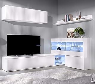 HABITMOBEL Mueble salón Rinconero Moderno con Leds Acabado en Blanco Brillo Medidas: 201x41 cm de Fondo