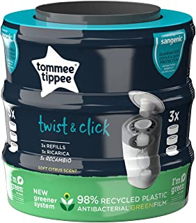 Twist and Click Advanced Nappy Bin Refill Cassettes, Sustainably Sourced Antibacterial GREENFILM, Pack of 3 [Packaging May...