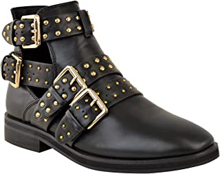 Womens Studded Chelsea Buckle Cut Out Low Heel Ankle Boots Size