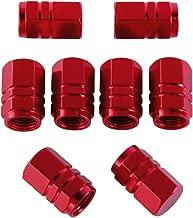 eBoot 8 Pieces Tire Stem Valve Caps Wheel Valve Covers Car Dustproof Tire Cap, Hexagon Shape (Red)