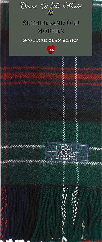Sutherland Old Modern Tartan Clan Scarf 100% Soft Lambswool