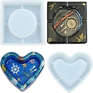 2PCS Silicone Resin Casting Mold, Resin Molds with Heart and Square Shaped for Ashtray, Silicone Resin Molds for Epoxy Resin