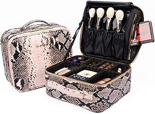 GLAMFORT Makeup Case Makeup Bag Organizer Bag with Large Capacity and Adjustable Dividers,Suitable for Makeup Artists(S, Pink)
