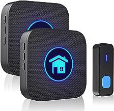 FUVNUAL Doorbell Wireless Doorbell Waterproof Door Bell Ringer kit with 1 Transmitter and 2 Plugin Receivers 55 Melodies O...