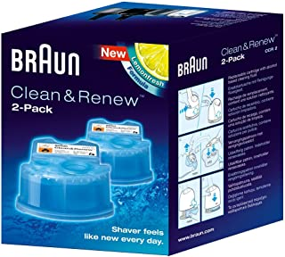 Braun Clean and Renew Refill Replacement Cartridges for Electric Shaver, 2 Pack, Compatible with All Braun SmartCare and C...