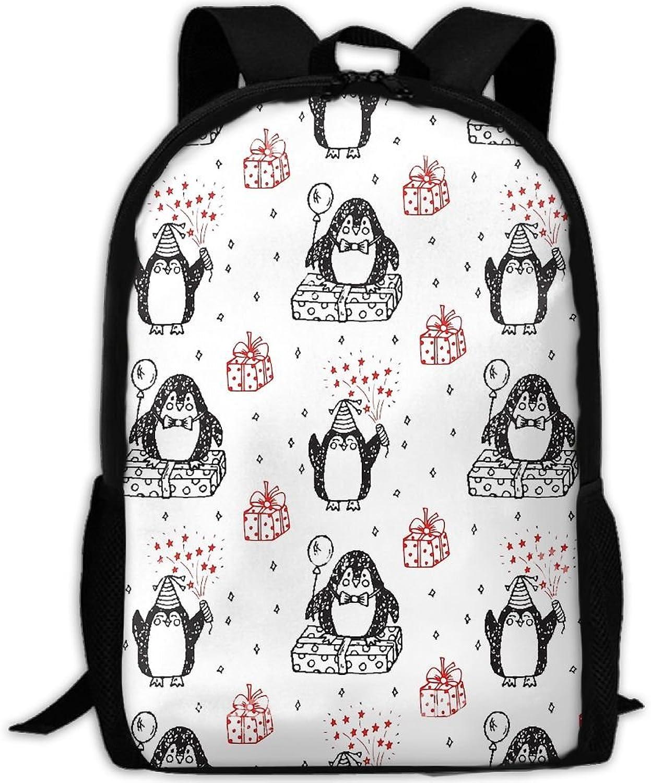 Adult Backpack Gifts Penguin College Daypack Oxford Bag Unisex Business Travel Sports Bag with Adjustable Strap