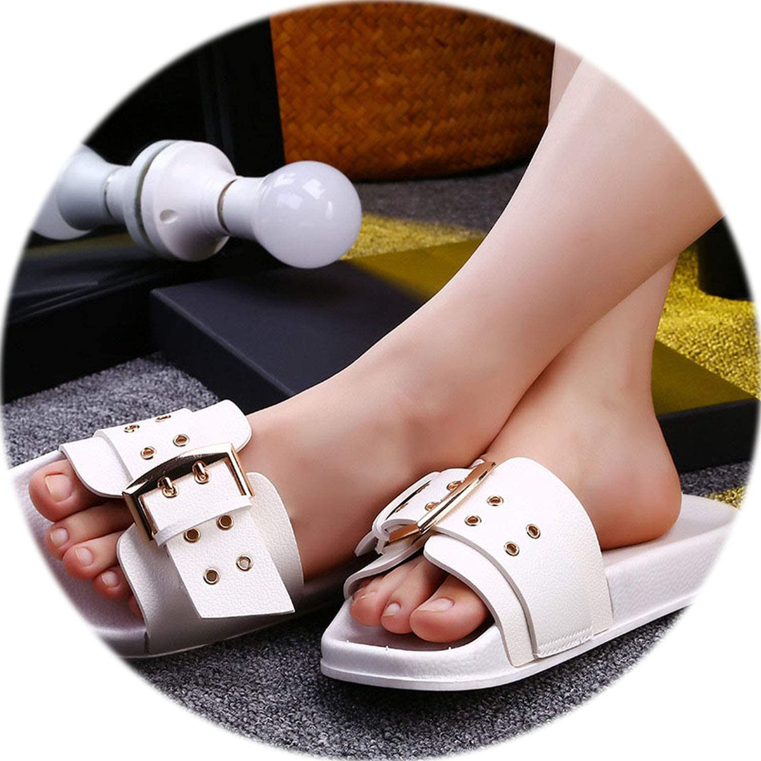 I'm good at you Women Slippers Brand Summer shoes Indoor Slippers PVC Thick Heel Woman Casual shoes,White shoes,9.5