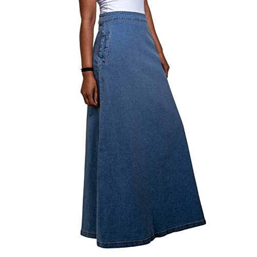 d9ae3514581 Lottie Long Denim Skirt - Palewash Maxi Jean Skirt with Stretch US 10-20  Blue