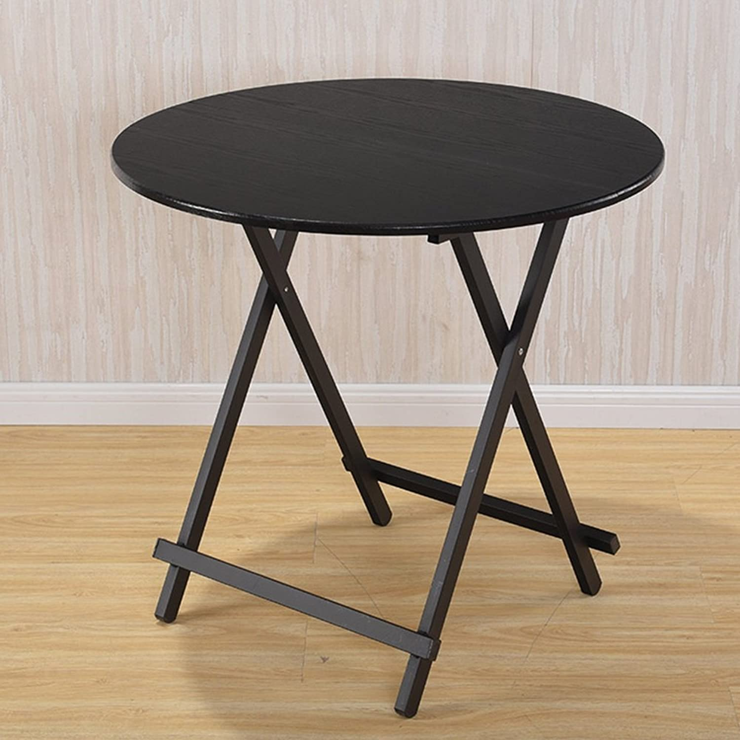 DQMSB Folding Table Small Round Table Dining Table Student Table Simple Table Writing Desk (color   Black, Size   80  74cm)