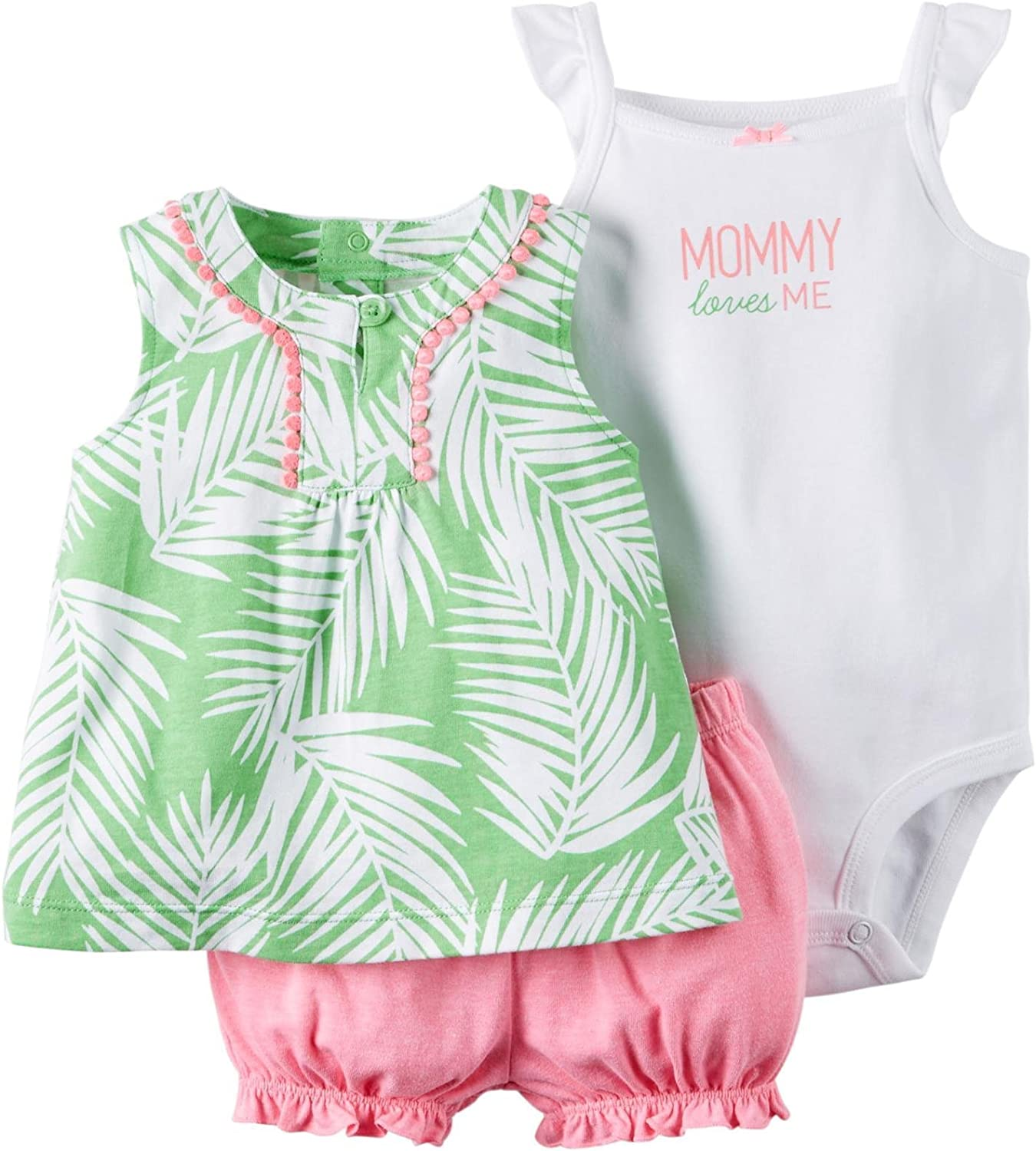 Carters Baby Girl Diaper Cover Set Green Palm Leaves