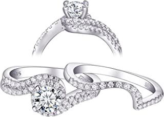 Newshe Wedding Rings for Women Engagement Ring Set 925 Sterling Silver Round White 1.2ct Size 5-10