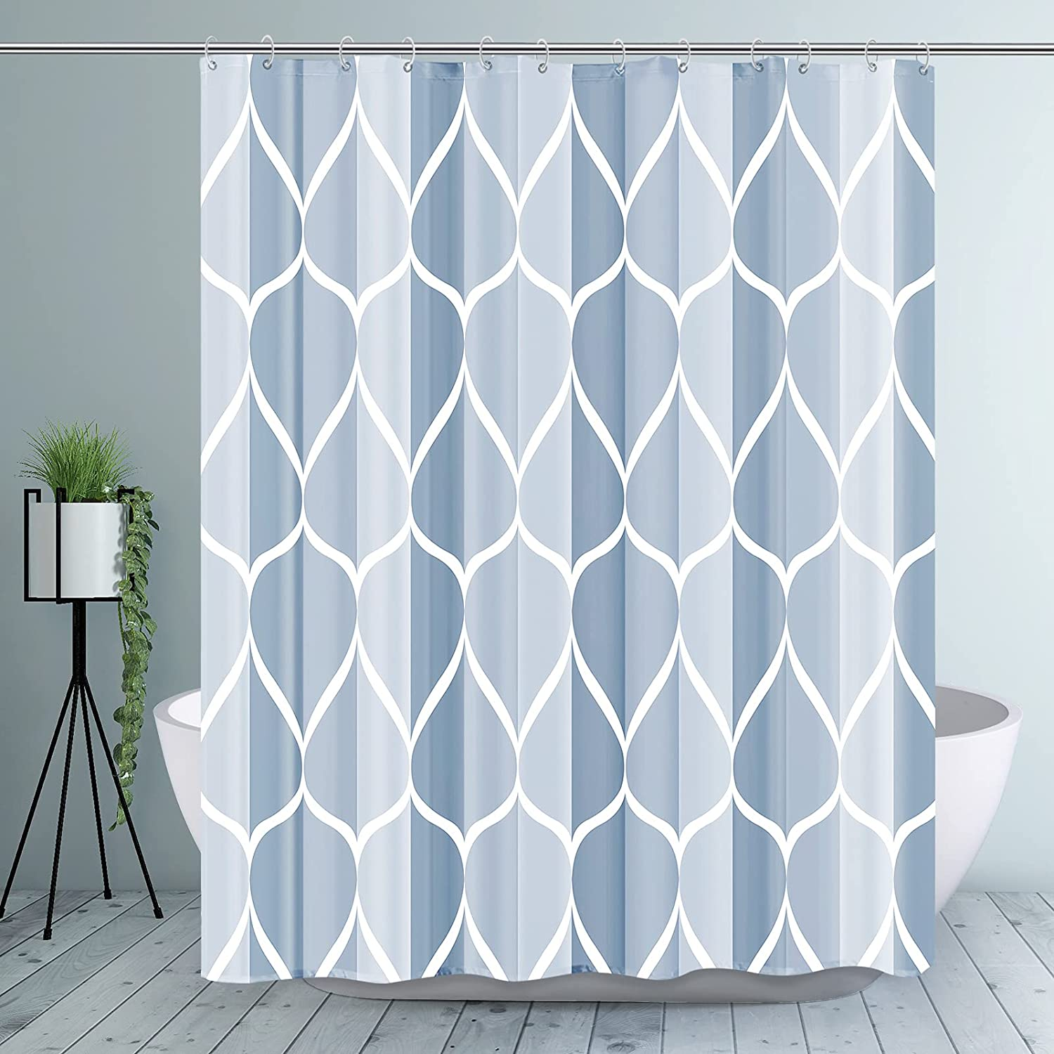 Gelbchu Dark Blue Geometric Shower Curtain, Waterproof Design and Polyester, Quick-Drying, Weighted Hem, Blue Fabric Shower Curtains Set for Bathroom W 72 x H 72, Durable and Washable with 12 Hooks