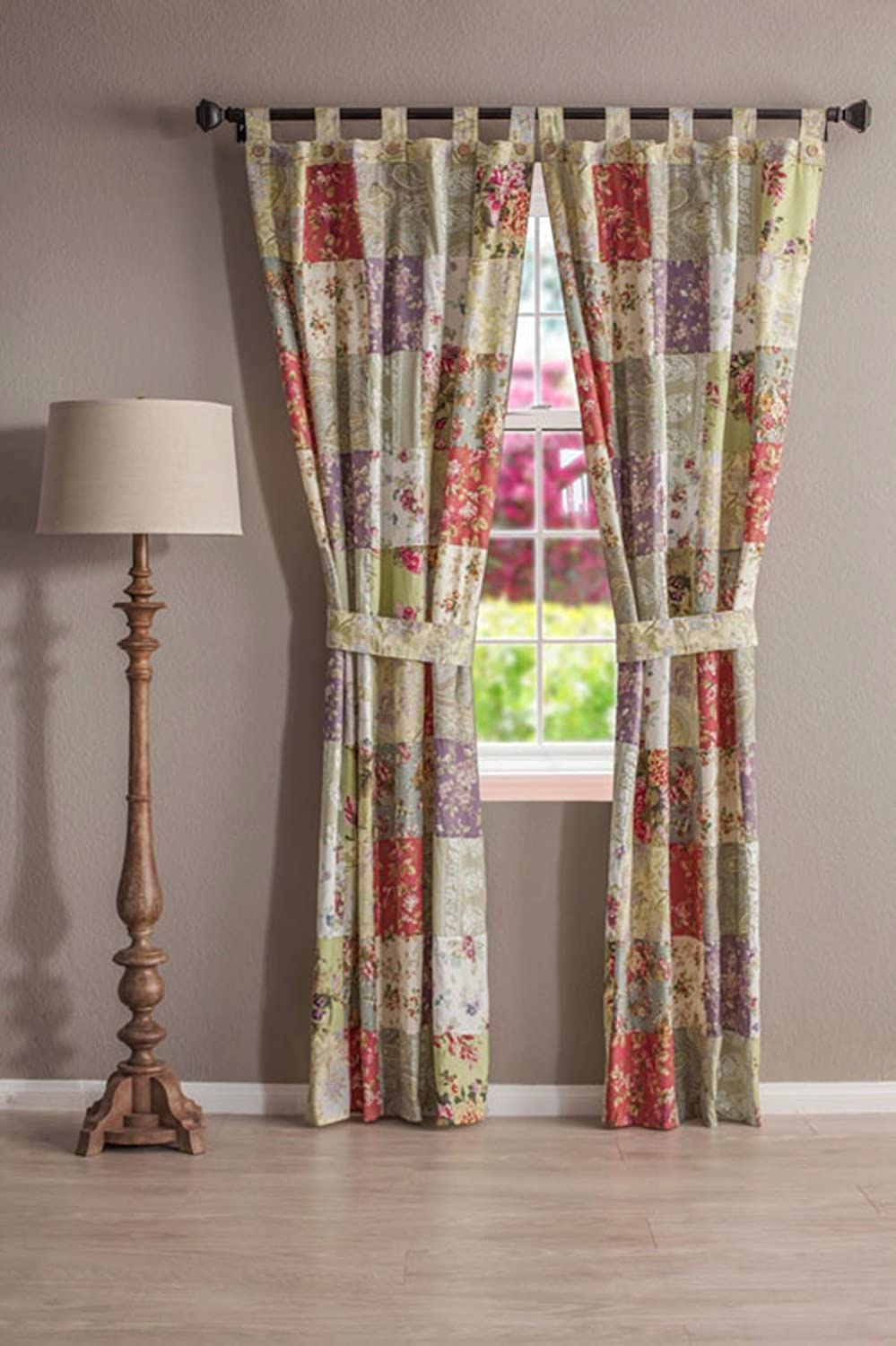 Blooming Miami Mall Prairie Patchwork Tab Top Drapery Valance Pair Max 59% OFF Set