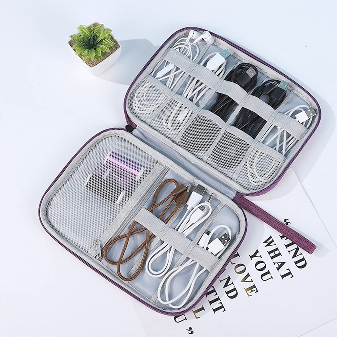Kiminors Cable Digital Storage Bags Organizer USB Gadgets Wires Charger Power Battery Zipper Cosmetic Bag