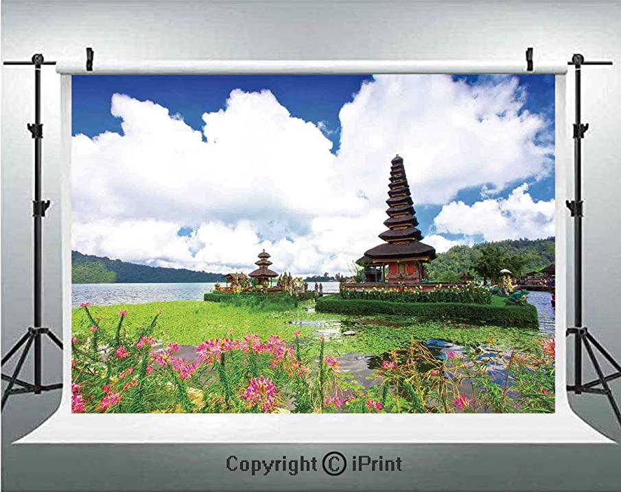 Balinese Decor Photography Backdrops Pura Ulun Danu Temple in Bali Tropic Flowers Water Plants Tower in the Sea Scenery,Birthday Party Background Customized Microfiber Photo Studio Props,7x5ft,Blue Gr