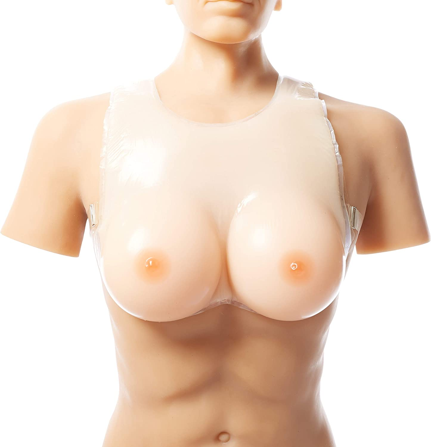 StrapOn Silicone Breast Form, Lifelike False Boobs for Crossdresser Transgender Soft Comfortable Prosthesis Dressed as Woman