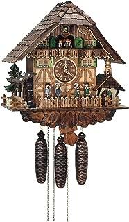 Anton Schneider Reloj cucú Casa de la selva negra con campana de timbre y rueda de molino que se mueve