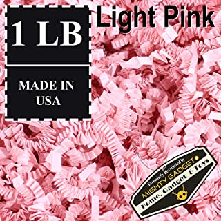 Mighty Gadget (R) 1 LB Light Pink Crinkle Cut Paper Shred Filler for Gift Wrapping & Basket Filling