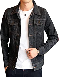 Comfy-Men Utility Motorcycle Slim Casual Button Down Denim Jacket