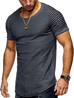 neveraway Mens Slim Fit Short Sleeve Solid Color T-Shirts Basic Running Tops