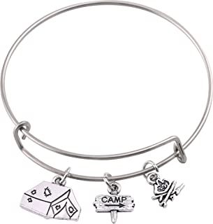 Lemegeton Camp DIY Wire Bangle Outdoor Bracelet with Guidepost Fire Tent Charms Jewelry for Women&Girls