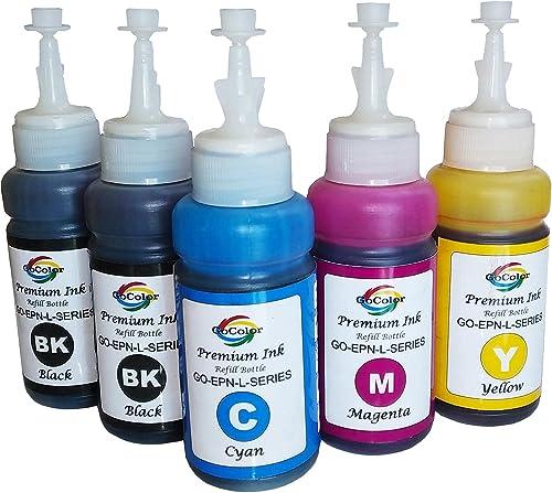 GoColor Premium Korean Quality GO EPN L Series Compatible Inkjet Refill Ink 70 ml x 5 BK BK C M Y Bottles with Syringe Napkin