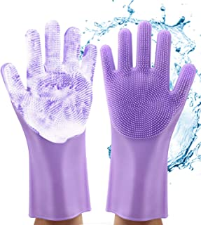 Magic Dishwashing Gloves, Reusable Silicone Dish Gloves with Sponge Scrubbers for Kitchen, Bathroom Cleaning, Pet Hair Care, Car Washing, 1 Pair, 2 Gloves, Purple