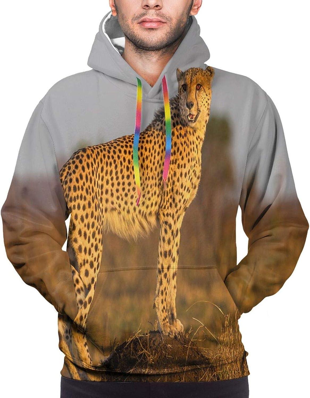 Men's Hoodies Sweatshirts,African Sunset A Giraffe Ostrich Hippo Adventure Exotic Pastoral Wilderness