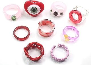 Y2K Acrylic Rings for Women Beaded Rings Trendy Rings for Women Plastic Rings for Women Clay Rings Indie Bead Rings Preppy...