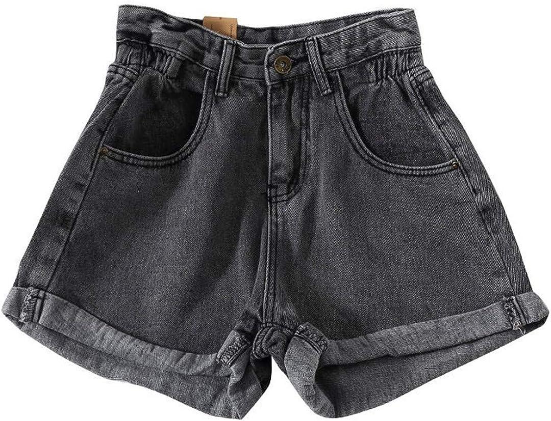 YHK Summer Women Wide Leg Denim Shorts Casual Elastic Waist Loose Jeans Shorts