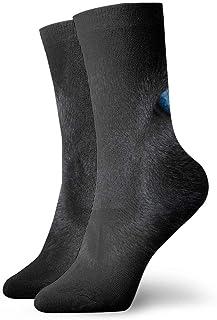 Calcetines deportivos deportivos para hombre, para mujer, calcetines negros de gato, ojos gruesos, calcetines de poliéster, 30 cm