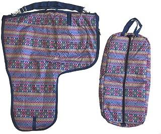 AJ Tack Wholesale Western Saddle Carrier Bridle Halter Bag Set 600D Waterproof Padded Aztec Print