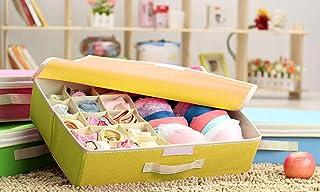 Styleys Fabric Multi Compartment Foldable Storage Box (Yellow, 15+1)