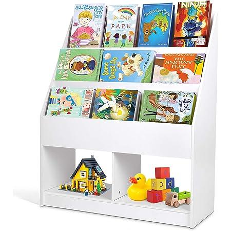 amzdeal - Estantería Infantil, Estantería para Juguetes, Librería para Niños, con Almacenamiento de Juguetes, Librería Infantil para Sala de Lectura, ...