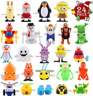 FUNNISM 24 Pieces Assorted Wind-up Toys Christmas Stuffer for Kids Party Favors Children's Birthdays Gifts