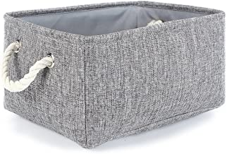 TheWarmHome Grey Linen Storage Basket for Shelves, Storage for Toys,Fabric Organizer Bins 13.8LX9.8WX6.7H Grey