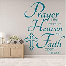 Prayer Is The Road To Heaven Quote Religious Wall Stickers Home Art Decals available in 5 Sizes and 25 colors Large Ocean Blue