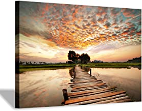 """Lake Pier Canvas Wall Art: Dock in Sunset Artwork Wooden Bridge Picture Boardwalk Painting for Office(36""""x24""""x1 Panel)"""