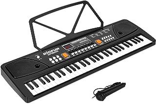 SANMERSEN 電子キーボード 61鍵盤 LCDディスプレイ搭載 多機能 高音質 充電式 楽器キーボード CPC認証 CE認証取得済 マイク & 日本語取扱説明書付き(ブラック)