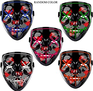 LED Halloween Mask - Halloween Scary Cosplay Light up Mask, EL Wire Mask Glowing mask for Halloween Festival Party
