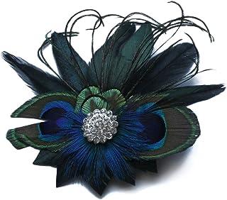 Bullidea Beautiful Elegant Vintage Peacock Feather Decor Hair Clip Hair Pin Rhinestones Bridal Hair Accessories