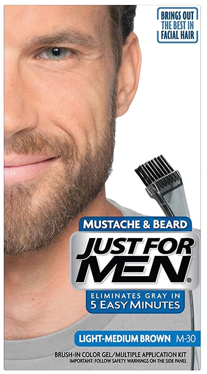 囲む成人期実装するJust for Men Brush-In Color Gel for Mustache & Beard Light-Medium Brown M-30 (並行輸入品)