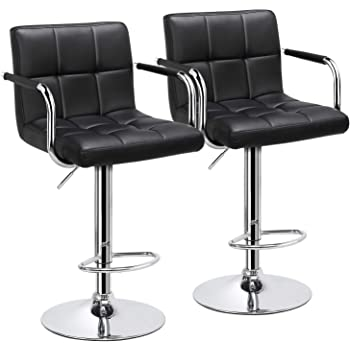 YAHEETECH Bar Stools Set of 2 Black Adjustable Counter Stools Bar Chairs Synthetic Leather Modern Design Swivel Barstools Gas Lift Stools for Kitchen Counter 360 Degree Swivel Seat Top