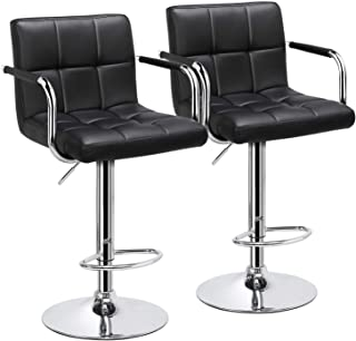 YAHEETECH Bar Stools Set of 2 Black Adjustable Counter Stools Bar Chairs Synthetic..