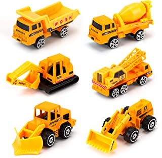 Alloy Truck Mini Pocket Size Construction Models Play Vehicles Toy Trucks for Boys Age 2 3 4 ,Kids Party Favors Cake Decorations Topper Birthday Gift,6Pcs Set